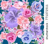 seamless pattern with hibiscus  ... | Shutterstock . vector #771372511