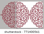 greeting card  laser cut pattern | Shutterstock .eps vector #771400561