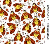 seamless pattern with ladybugs... | Shutterstock .eps vector #771408025
