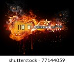 electric guitar in fire.... | Shutterstock . vector #77144059