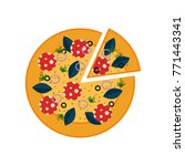 vector pizza with salami  basil ... | Shutterstock .eps vector #771443341