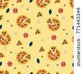 pizza slices seamless pattern... | Shutterstock .eps vector #771443344