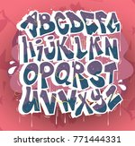 hip hop graffiti font vector | Shutterstock .eps vector #771444331
