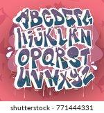 hip hop graffiti font vector | Shutterstock .eps vector #771444331