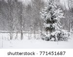 winter road and forest in the... | Shutterstock . vector #771451687