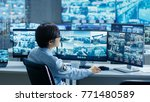 in the security control room... | Shutterstock . vector #771480589