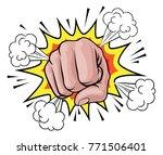 a pop art cartoon fist hand... | Shutterstock .eps vector #771506401