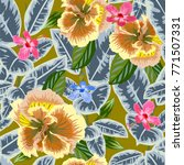 tropical seamless floral... | Shutterstock . vector #771507331