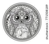 mandala with owl. zentangle.... | Shutterstock .eps vector #771508189