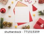 red envelope on christmas... | Shutterstock . vector #771515359