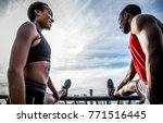 american couple making fitness... | Shutterstock . vector #771516445