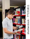 guy in a library having the... | Shutterstock . vector #77151811