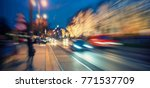 colorful and busy night traffic ... | Shutterstock . vector #771537709