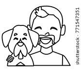 man with dog cartoon   Shutterstock .eps vector #771547351