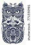 owl and bear  tattoo art. owl ... | Shutterstock .eps vector #771550981