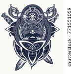 viking warrior head t shirt... | Shutterstock .eps vector #771551059