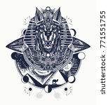 anubis tattoo and t shirt... | Shutterstock .eps vector #771551755