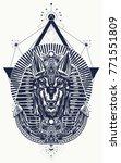 anubis sacred geometry tattoo... | Shutterstock .eps vector #771551809