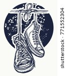 boots hanging from electrical... | Shutterstock .eps vector #771552304