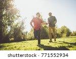 happy gay couple spending time... | Shutterstock . vector #771552934