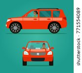 red car two angle set. car with ... | Shutterstock .eps vector #771554089