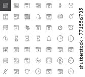 time and date line icons set ... | Shutterstock .eps vector #771556735