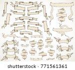vintage hand drawn ribbon... | Shutterstock . vector #771561361
