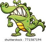 angry cartoon crocodile. vector ... | Shutterstock .eps vector #771587194