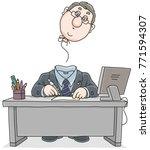 clerk with a flown away head  | Shutterstock .eps vector #771594307