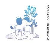 elephant cartoon in forest next ... | Shutterstock .eps vector #771594727