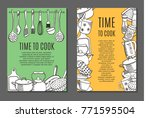 flyers with kitchen ware | Shutterstock . vector #771595504