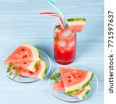 watermelon summer cocktail with ... | Shutterstock . vector #771597637