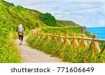 lonely pilgrim with backpack... | Shutterstock . vector #771606649