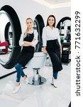 blonde and brunette... | Shutterstock . vector #771632299