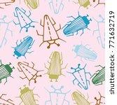 seamless bugs cartoon pattern.... | Shutterstock .eps vector #771632719