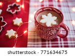 hot cocoa with snowflake... | Shutterstock . vector #771634675