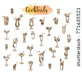 cocktail icons. hand drawn... | Shutterstock .eps vector #771635521