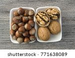 walnuts and hazelnuts  | Shutterstock . vector #771638089