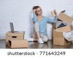 pensive entrepreneur with...   Shutterstock . vector #771643249