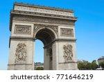 arc de triomphe in paris on an...   Shutterstock . vector #771646219