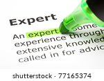 the word expert highlighted... | Shutterstock . vector #77165374