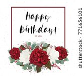 floral happy birthday greeting... | Shutterstock .eps vector #771656101