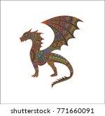 vector dragon illustration with ... | Shutterstock .eps vector #771660091