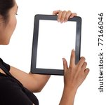 woman touch back touch pad... | Shutterstock . vector #77166046