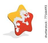 Bhutan flag STAR BANNER - stock photo