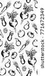 vegetable fruit monochrome ink...   Shutterstock .eps vector #771672349