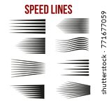 speed lines black for manga and ... | Shutterstock .eps vector #771677059