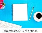 top viwe of modern workplace... | Shutterstock . vector #771678451