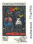 """Small photo of CZECHOSLOVAKIA - CIRCA 1972: A stamp printed in Czechoslovakia, shows picture """"Woman Dressing"""", by Ludovit Fulla, circa 1972"""