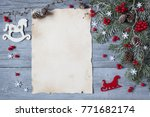 christmas wood background with... | Shutterstock . vector #771682174